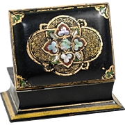 Antique Victorian Papier Mache Desk, Jewelry or Cards Box, Casket - Inlays of Mother of Pearl