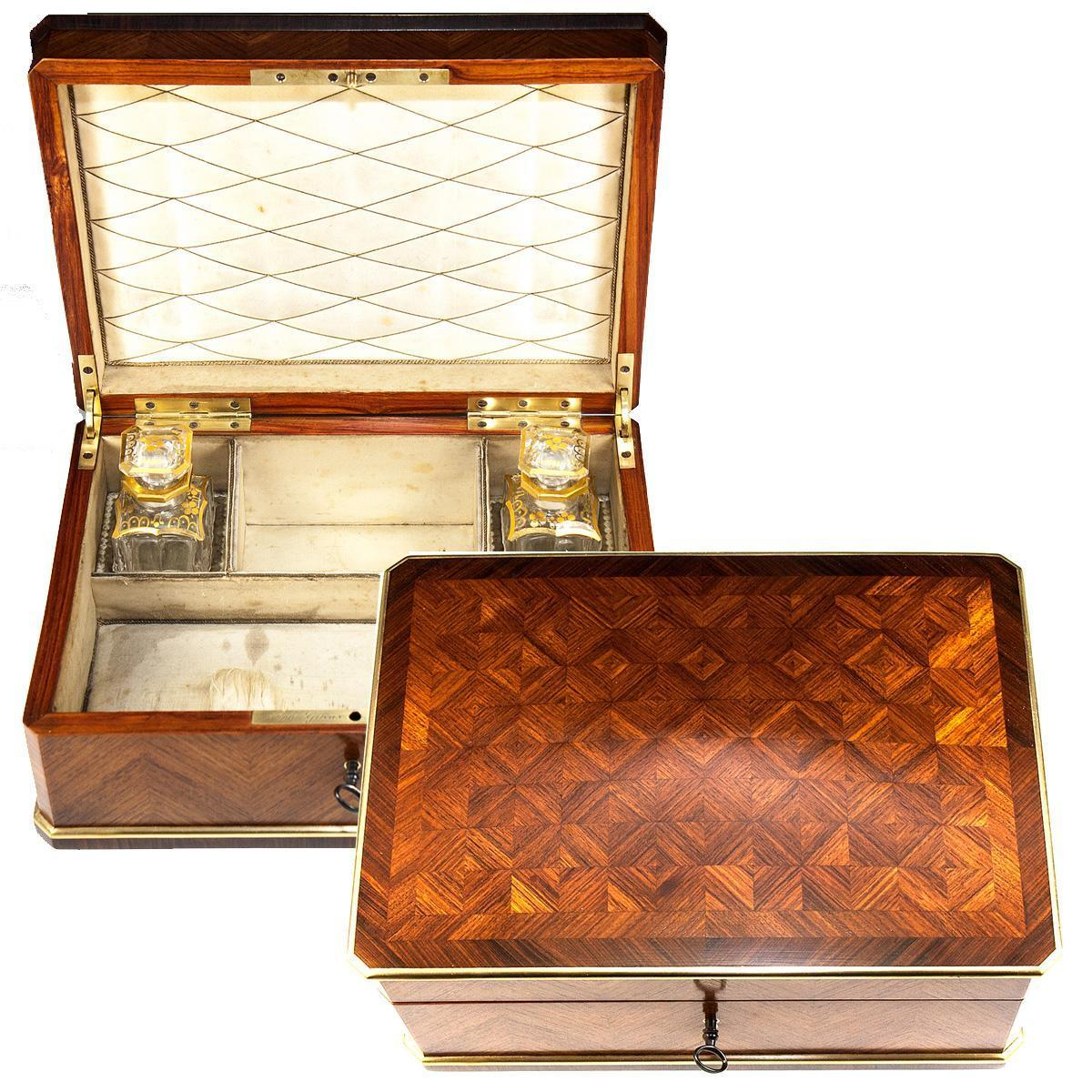 Superb Antique French Jewelry Perfume Sewing Box, Kingwood, by Alph. GIROUX