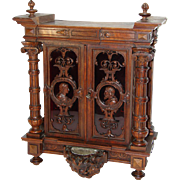 RARE Fine Gueret Freres Hand Carved Key Cabinet, Chest, Holy Font Putti, Signed