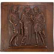 Antique Hand Carved Wall or Cabinet Panel, Classical Figures in Bas Relief