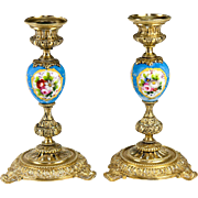 Antique French Porcelain & Dore Bronze Candlestick Pair, HP Sevres Blue with Flowers