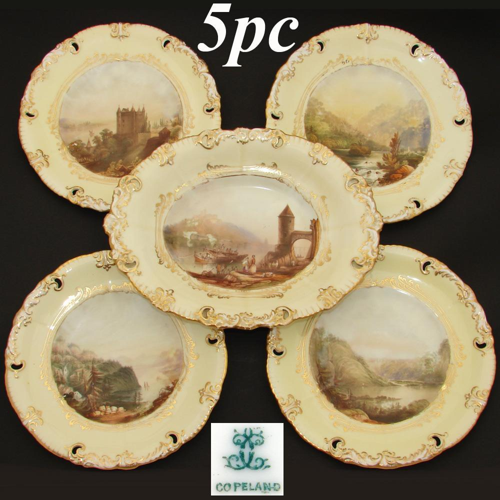 Antique W.T. Copeland 5pc Decorative Cabinet Plate & Serving Dish Set, HP Grand Tour Scenes & Yellow & Gold Borders