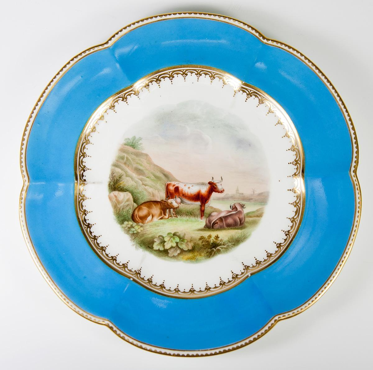 Antique Hand Painted Old Paris Cabinet Plate with Pastoral Scene & Cows