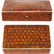 Antique French Marquetry Jewelry Casket, Possible Cigar, Game or Cards Box, Napoleon III Era