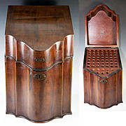 Antique Georgian Era Cutlery or Knife Box, Cabinet, Chest, Serpentine Front - a Beauty!