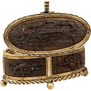 Unique Antique French Small 19th c. Jewelry Casket, Carved Wood & Ormolu