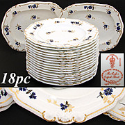 "Rare Antique Royal Crown Derby 10 3/8"" Plate Set, 14pc with 2pc Serving Dishes with Cobalt Blue & Gold Enamel Flowers"