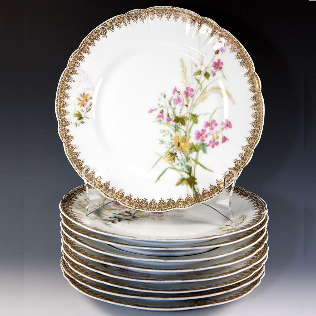 "Set of 9 Hand Painted Haviland Limoges Plates, Date Mark: 1888-1896, 8.5"" Diam."