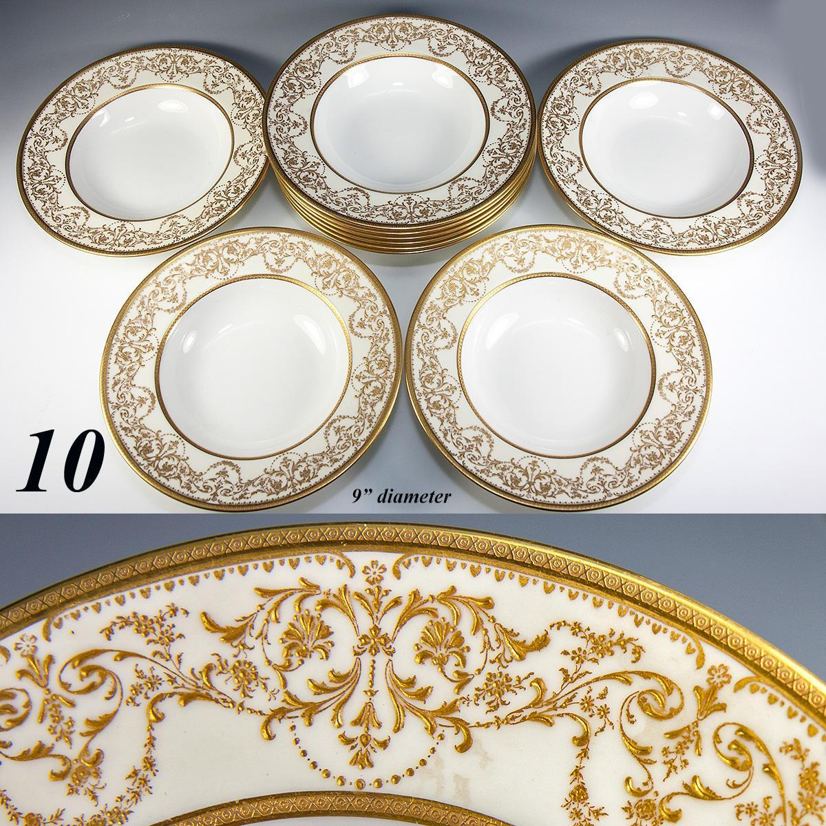 Fine Set of 10 Antique Royal Doulton Soup Plates, Raised Gold Enamel Encrusted, Belle Epoch