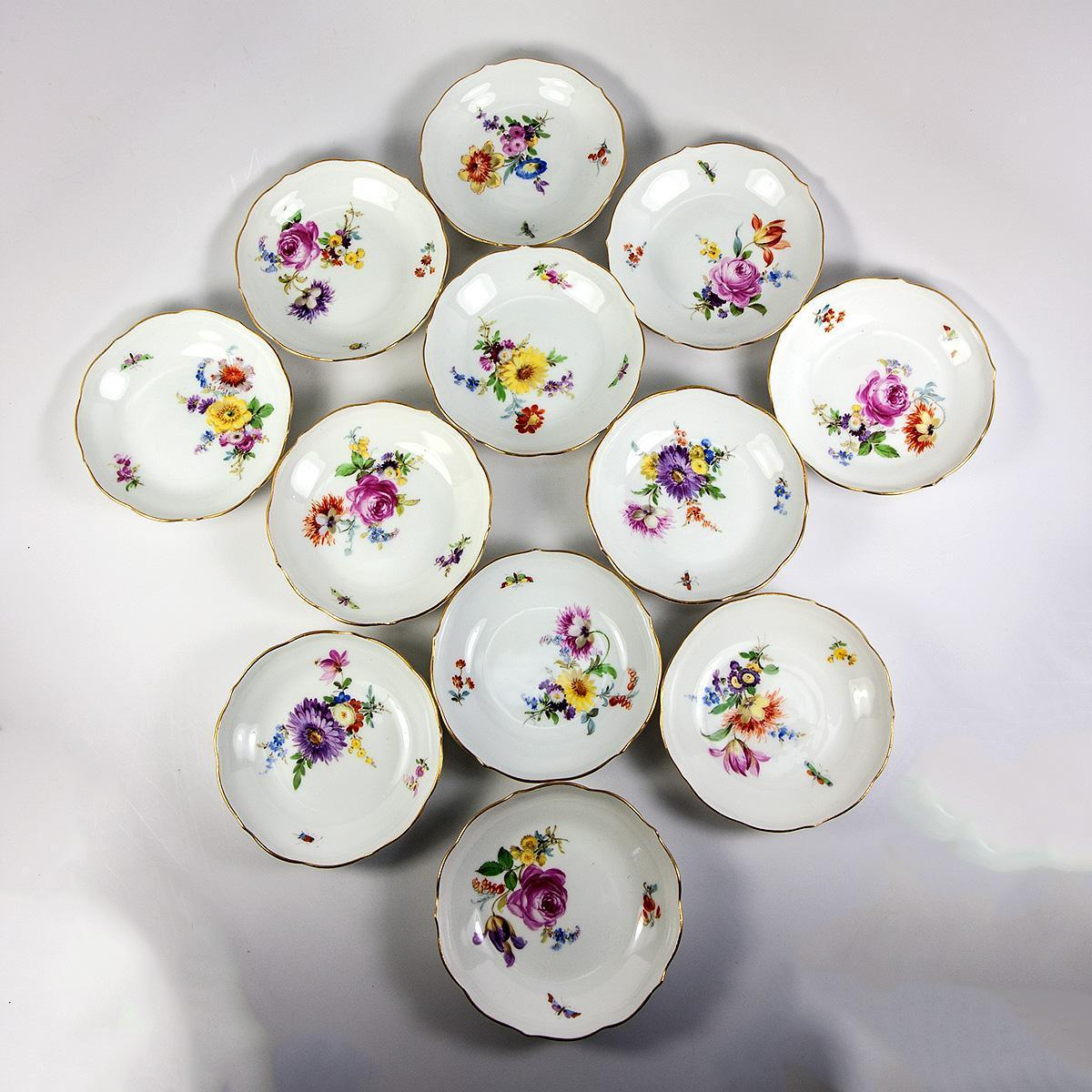 Set of 12 Hand Painted MEISSEN Fruit Bowls, 19th c. Floral & Bug, Gold Rim