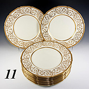 "11 Elegant c.1928 Royal Doulton HP Raised Gold Encrusted Dinner Plates, 10.5"" Diam."