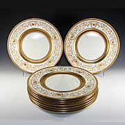 Super set of 9 Raised Gold Enamel Encrusted Dinner Plates, Cauldon, OVINGTON
