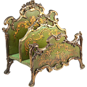 Antique Letter or Stationery Stand, French Bronze and Vernis Martin Painted Wood, c. 1800s