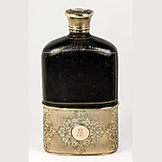 Fine Antique ASPREY Sterling Silver & Crystal Liquor Flask, 18k Gold Vermeil and Leather, c.1850s