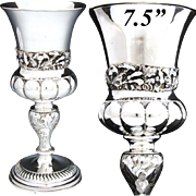 Ornate Antique Continental .800 (nearly sterling) Silver Goblet, Chalice, Art Nouveau Floral