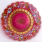Rare 19th c. Moser Enameled Cranberry Glass Cabinet Plate #1 - Jeweled, Raised Gold. Gorgeous!