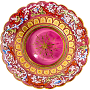 Rare 19th c. Moser Enameled Cranberry Glass Cabinet Plate #2 - Jeweled, Raised Gold. Gorgeous!