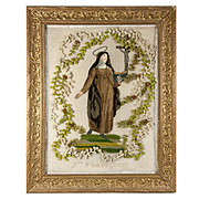 Antique French Silk Embroidery, Chenille Work, A Nun, Sainte-Françoise, Crucifix,  in Frame