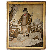 Antique Georgian, Napoleon Era Silk Work Embroidery Hunter and Dogs, in Frame