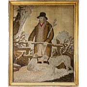 SALE Antique Georgian, Napoleon Era Silk Work Embroidery Hunter and Dogs, in Frame