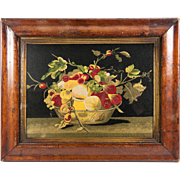 Antique 1800s Silk Embroidery Panel, Original Frame, c. 1850-80 Fruit Still Life