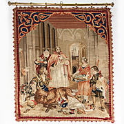 Antique Victorian Needlepoint, Needlework Tapestry on Hanging Rod, Fruits of the Hunt