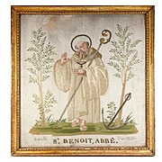 RARE c.1821 Napoleonic Silk on Silk Embroidery Sampler #2 in Frame, St. Benoit, Abbe