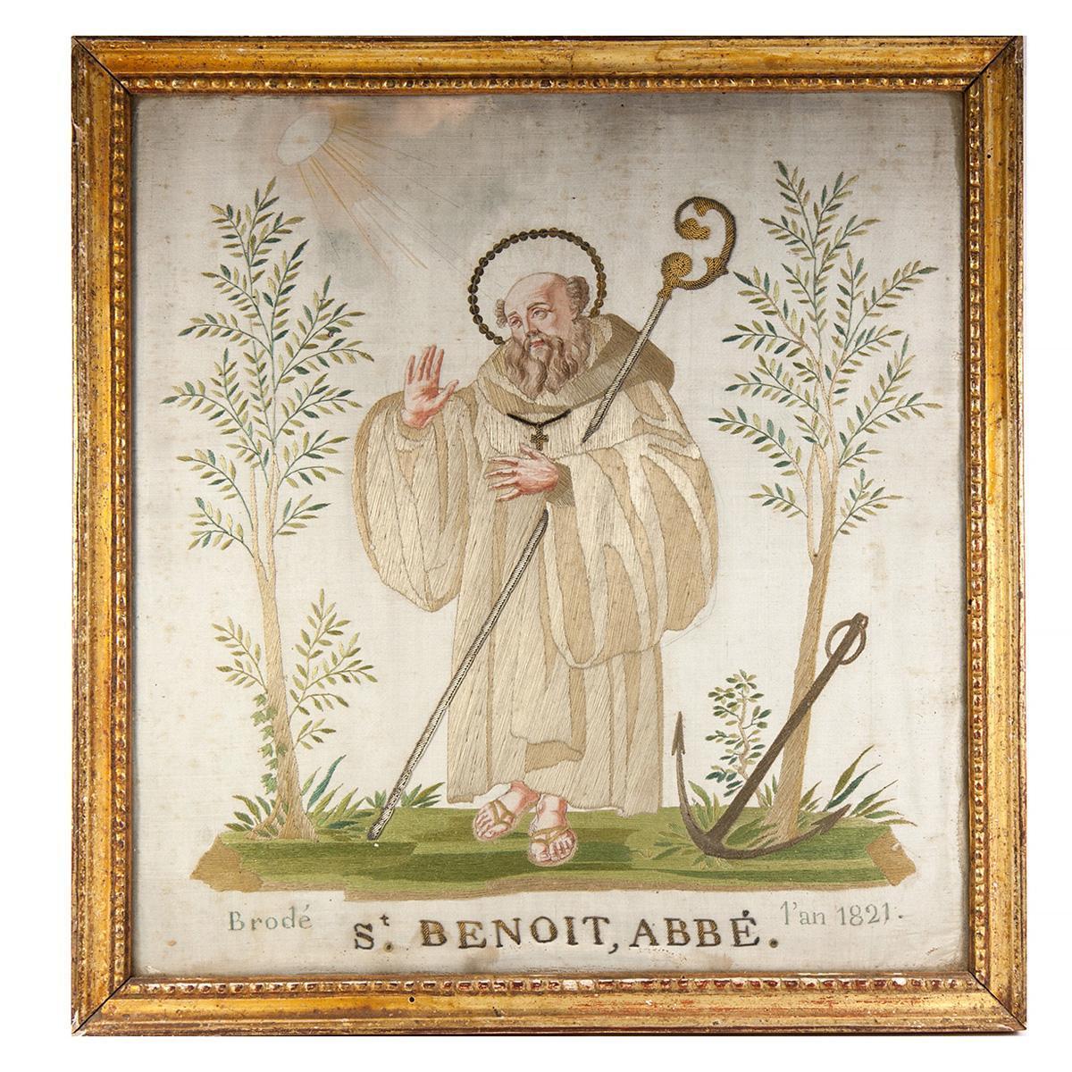 RARE c.1821 Napoleonic Silk on Silk Embroidery Sampler #2 in Frame, St. Benoit, Abbe