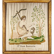 RARE c1821 Antique Silk Embroidery Sampler, St. John the Baptist, in Frame - Napoleonic Era