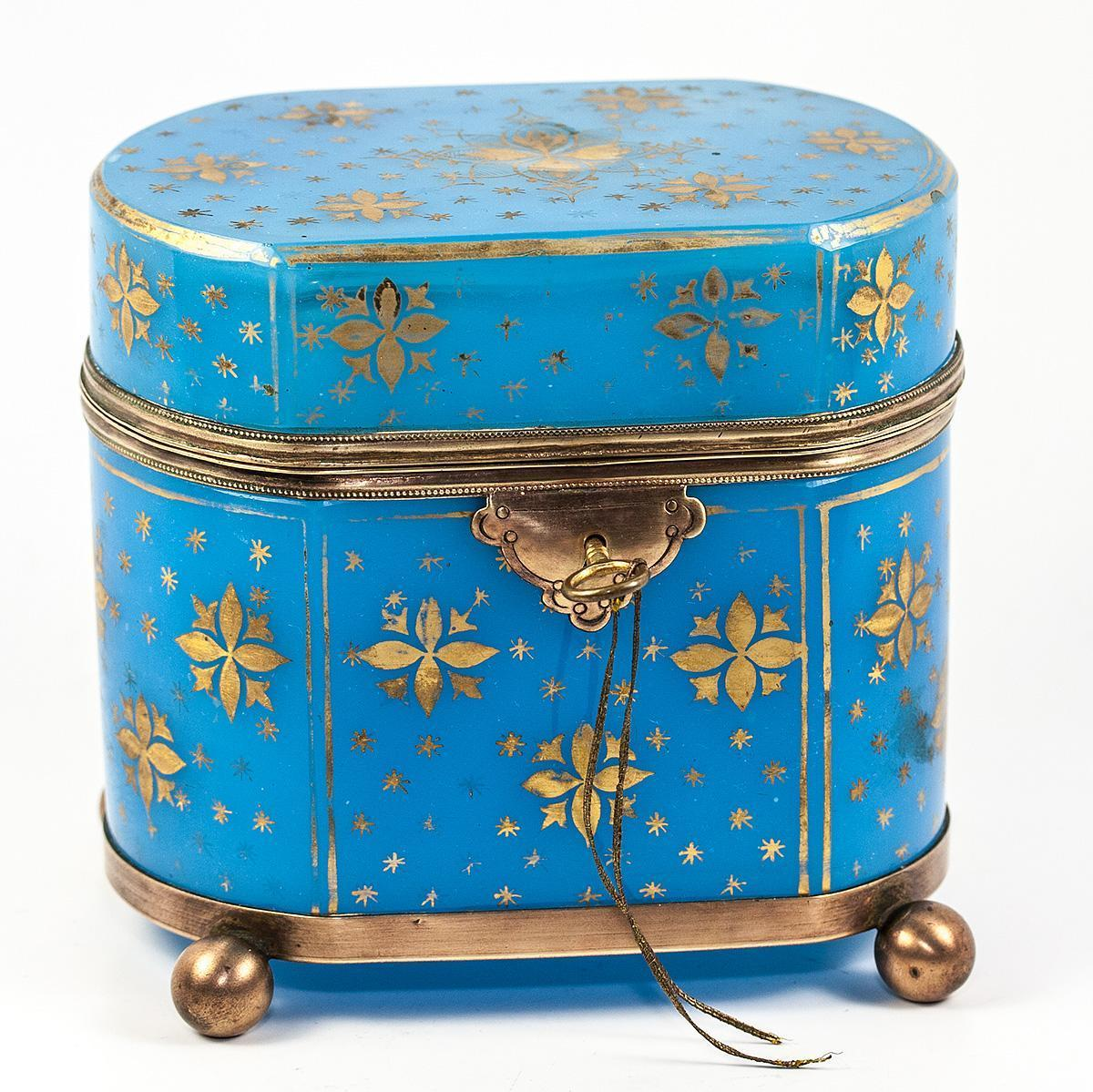 Antique French Opaline Sugar Casket, Jewelry Box, Working Lock with Key, Gold Enamel on Blue