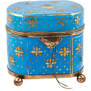 Antique French Opaline Sugar Casket, Jewelry Box, Working Lock with Key, Gold Enamel on Blue