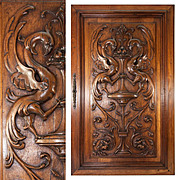 Fine Antique French Carved Wood Panel, Griffen, Gryphon Pair, Renaissance Revival Cabinet Door