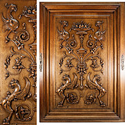 "Massive 34"" x 24"" Antique Hand Carved Wood Plaque, Door with Griffen, Chimera. Renaissance Revival, Gothic"