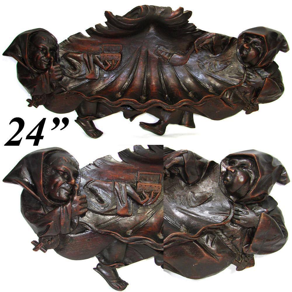 "Delightful Antique Victorian Era Carved Wood 24"" Pipe Rack, Hooded Monk Figures Holding Snuff Box & Pipe"
