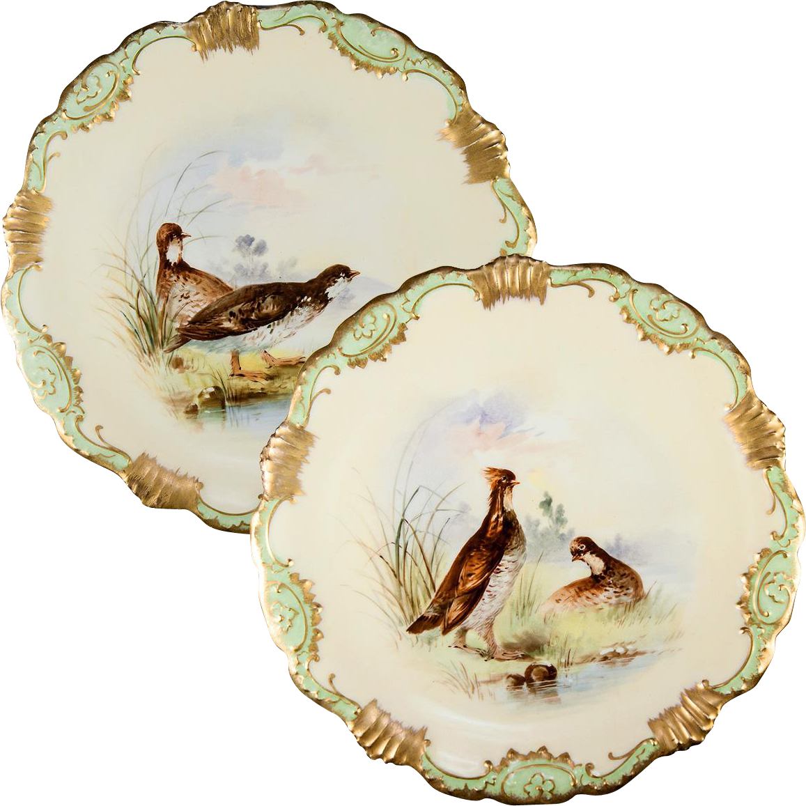 Pair 2 Antique Hand Painted Limoges Cabinet Plates Game