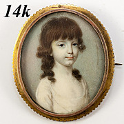 Fine Antique 14K Brooch Portrait Miniature, Holds a Beautiful Little Girl Child's Painting