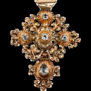 Antique 18k Gold Pendant, Faux Diamond Set, Normandy Origin, French Eagle Marks