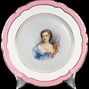 Antique Old Paris Portrait Plate, Duchesse de Chateauroux (1717-1744) Mistress of Louis XV