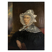 "Antique French Oil Painting Portrait of a Matron in Lace Bonnet & Collar,  31.25"" x 23.5"""