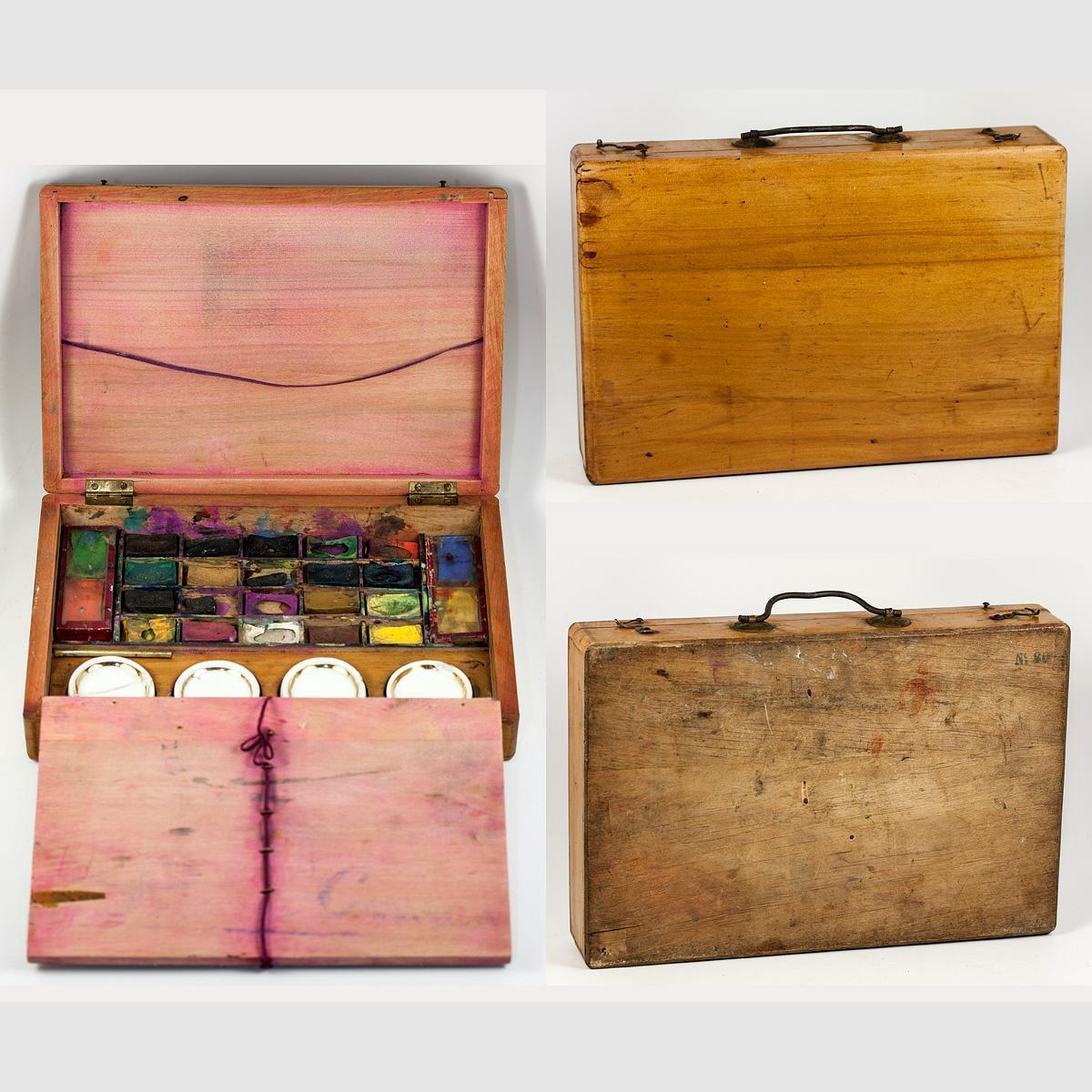 Antique French Watercolorist Paint Box, 1878 Silver Medal; 1889 Paris Expo Gold Medal