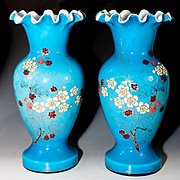 Rare HUGE 1800s Antique French Glass Vase Pair, (2) Bead Decorated, Enamel
