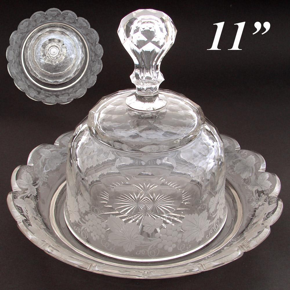 "Rare LG Antique Intaglio Etched Crystal Cheese Dome & 11"" Under Tray, Foliage & Grapes on Vine"