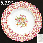"Antique English 9.25"" Cabinet Plate, Ornate Ringed Border with Gold Enamel & Floral Center"