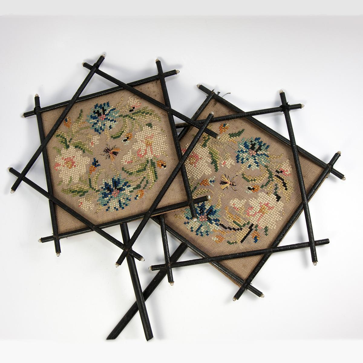 Antique French Face Screen Pair, Victorian Era Chinoiserie, Japonaise, Embroidered Silk, Opaline Bead, Napoleon III