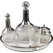 Antique French Sterling Silver Crystal Absinthe or Bedside Service, 2 Decanters, Sugar Bowl, Tumbler, Tray