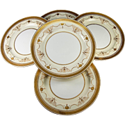 Antique Minton Dinner Plates, c. 1891-1912, Set of 5 Dinner Plates, Raised & Encrusted Gold G6180