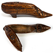 Antique French or Brittany Hand Carved Shoe Snuff Box, Excellent Petit 4""
