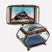 Antique French Eglomise Grand Tour Souvenir Jewelry Box, Casket, Thick Glass and Mont Saint-Michel View