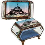 Antique French Eglomise Grand Tour Souvenir Jewelry Box, Casket, Thick Glass and Mont Saint-Michel View