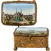 Antique French Eglomise Grand Tour Souvenir Jewelry Box, Casket, Thick Glass and 1889 Paris Expo View